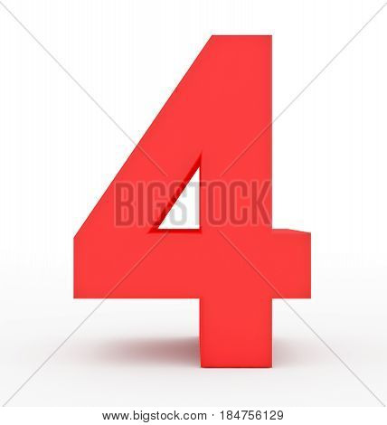 Number 4 3D Red Isolated On White