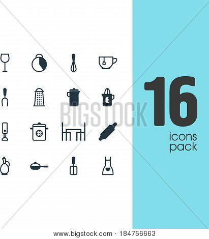 Vector Illustration Of 16 Restaurant Icons. Editable Pack Of Timekeeper, Cooking Spade, Shaker And Other Elements.