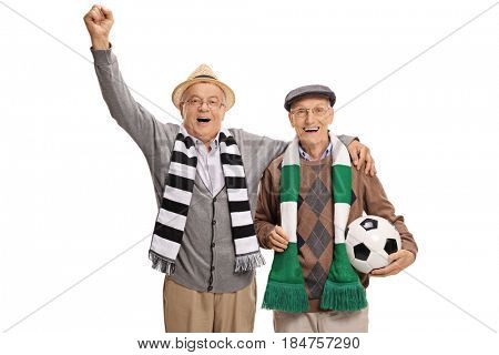 Overjoyed mature soccer fans with scarfs and a football cheering isolated on white background