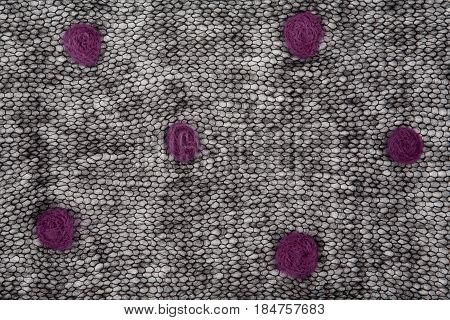 Knitted Black Mohair Fabric With Dots