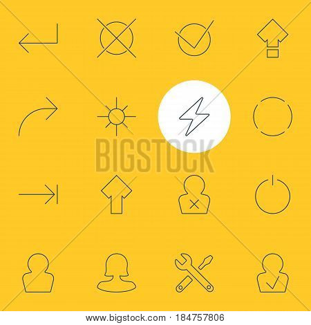 Vector Illustration Of 16 Interface Icons. Editable Pack Of Bolt, Upward, Cancel And Other Elements.