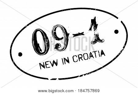 New In Croatia rubber stamp. Grunge design with dust scratches. Effects can be easily removed for a clean, crisp look. Color is easily changed.