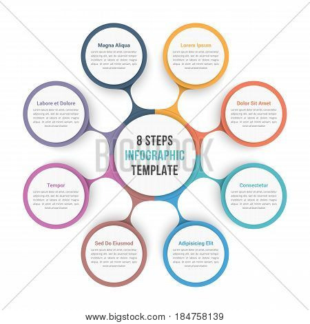 Circle diagram infographic template with eight steps or options, workflow process vector eps10 illustration