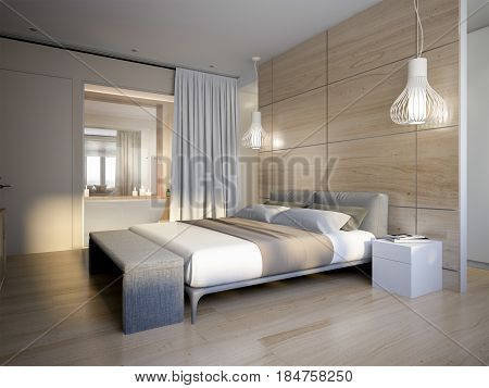 Bright and cozy modern bedroom with dressing room and bathroom. 3d render