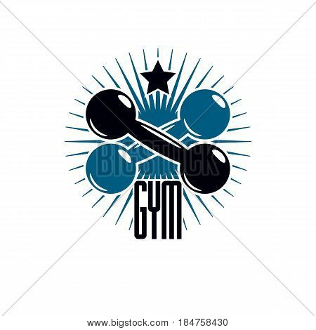 Fitness and heavyweight gym sport club logotype template vintage style vector emblem. With dumbbell.
