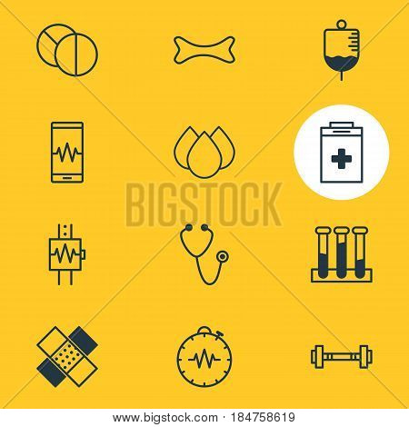 Vector Illustration Of 12 Medical Icons. Editable Pack Of Pressure Gauge, Exigency, Osseous And Other Elements.