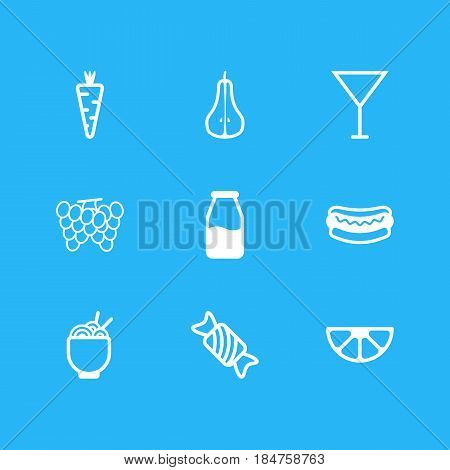 Vector Illustration Of 9 Meal Icons. Editable Pack Of Spaghetti, Candy, Martini Elements.