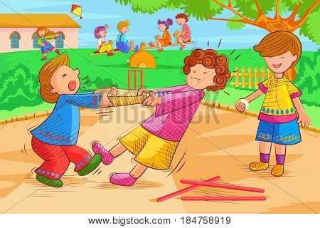 Vector design of kids playing and fighting in park