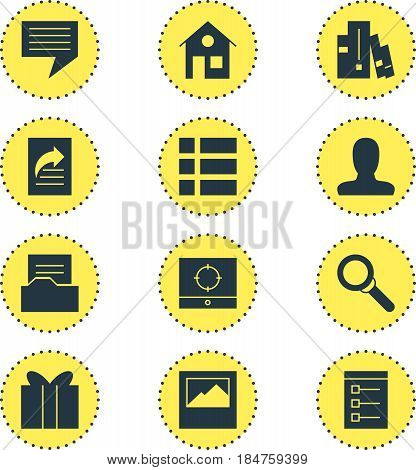 Vector Illustration Of 12 Online Icons. Editable Pack Of House, Magnifier, Landscape Photo Elements.