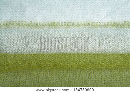 Knitted Green And Grey Mohair Fabric