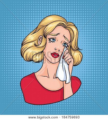 Crying woman face. Sad blonde wiping tears with handkerchief. Colorful comics vector illustration in pop art style
