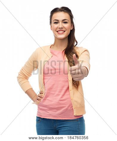 gesture, fashion, portrait and people concept - happy smiling young woman in cardigan showing thumbs up over white