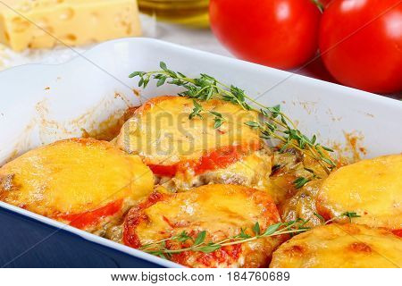 Delicious Meat Chops In Gratin Dish