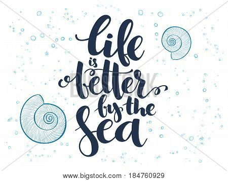 vector hand lettering summer text about sea with doodle shells and bubbles.
