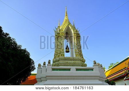 The bell of the Buddhist temple calls the pilgrims to learn the mystical knowledge of the philosophy of Buddhism