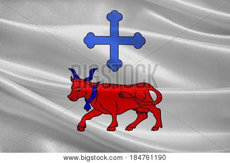 Flag of Oloron-Sainte-Marie is a commune in the Pyrenees-Atlantiques department in the region of Bearn in south-western France. 3D illustration
