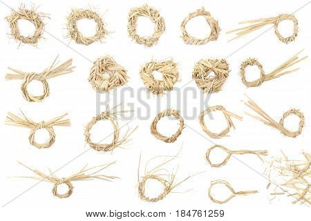 Elements from dry grass for graphic design isolated on white background. Graphic design concept from straw. Nature country themed  labels templates.