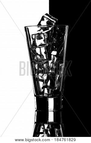Glass With Ice.black And White Background.concept Dual Colour Background