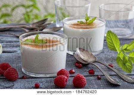 Homemade natural Spanish milkshake called leche merengada