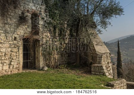 The walls of the old castle in Brescia. Italy