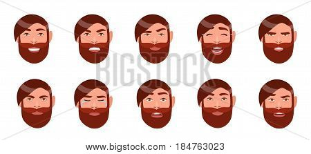 Set of man's emotions. Bearded guy face. Cartoon character with different facial expression collection. Colorful vector illustration in flat style