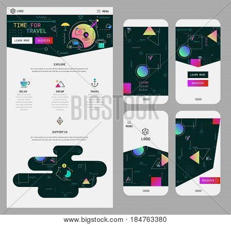 Trendy responsive landing page or one page website template, for startups and apps, and mobile smartphone abstract background wallpaper screens kit, with new retro 80s - 90s style design