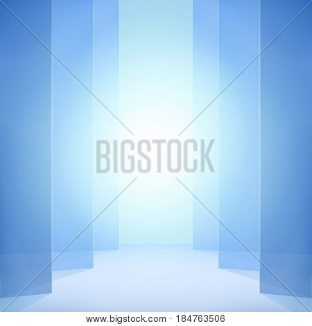 Blue abstract vector background. Vertical opening jalousie elegant backdrop light effect.