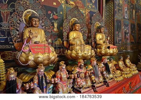 The Temple of Philosophy and Religion in Ancient Temple Complex of Buddhism, strikes with its exquisite beauty, gold and secret signs of Hinduism. Holy symbols and drawings call pilgrims to learn the mystical teachings and philosophy of Buddhism and Hindu