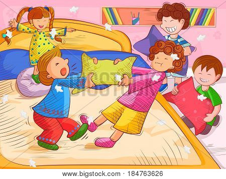 Vector design of kids doing pillow fighting and enjoying Summer Vacation