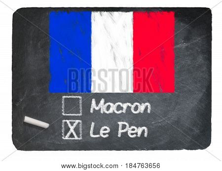 French election illustration created on a slate chalkboard with a choice for voters in the upcoming vote