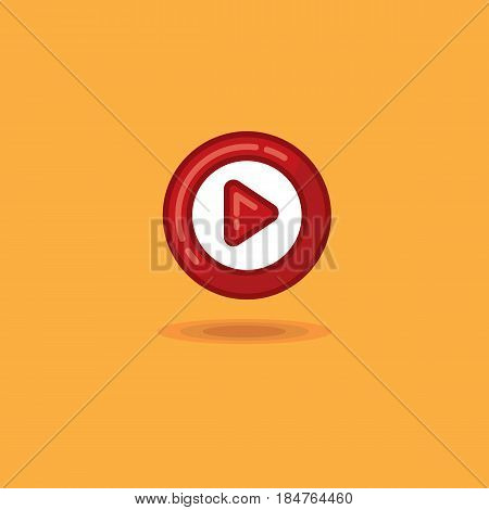 Vector illustration round play button, start button on an orange background. Vector icon red start button, play button