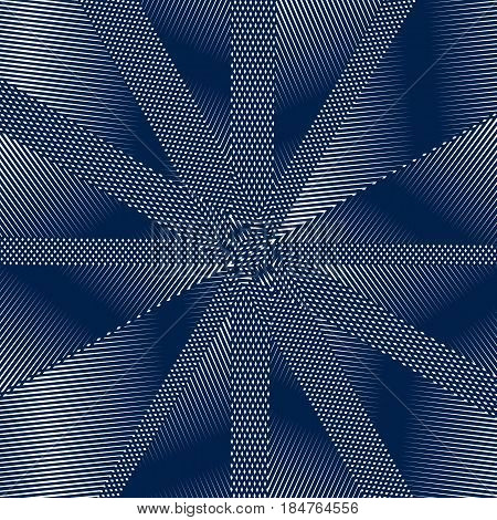 Moire pattern op art vector background. Relaxing hypnotic backdrop with geometric black lines. Abstract tiling.