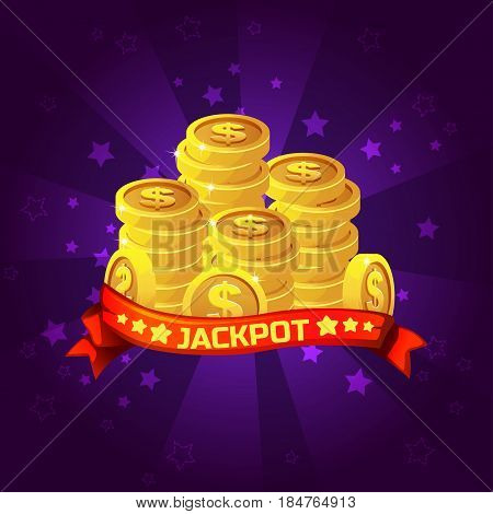 Jackpot winner background. Golden coins treasure For Ui Game element, background glow