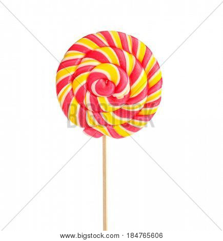 Tasty colorful lollipop on white background