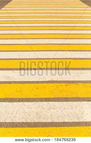 Large Pedestrian Crossing Striped White And Yellow.