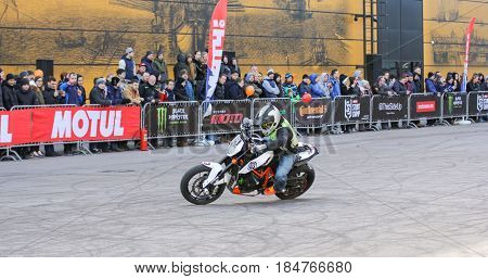 St. Petersburg Russia - 15 April, Drift on motobike,15 April, 2017. International Motor Show IMIS-2017 in Expoforurum. Sports motorcycle show of bikers on the open area.
