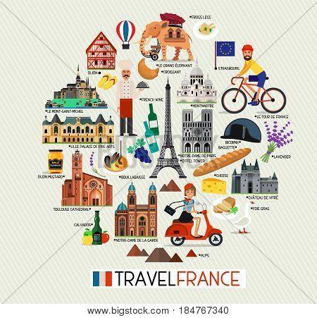 France Travel Icons. France Landmarks. Vector Illustration
