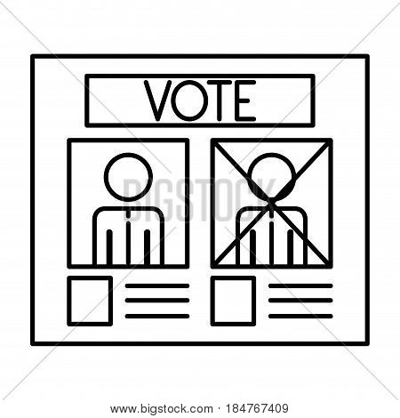 Paper card icon. Vote president election government  and campaign theme. Isolated design. Vector illustration