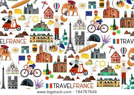 France Travel Seamless Pattern. France Travel Icons. Vector Illustration.