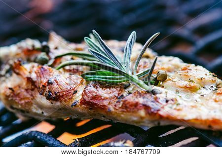 Grilled chicken fillets on a grill with spice and rosemary. Marinated chicken breast on flaming grill with vegetables. Healthy food. BBQ sauce.