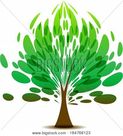 Tree with lush green foliage on white background