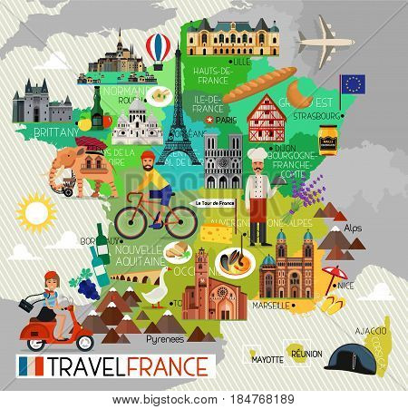 France Travel Icons. Travel Map. Vector Illustration