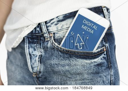 Network connection graphic overlay digital device in pant pocket