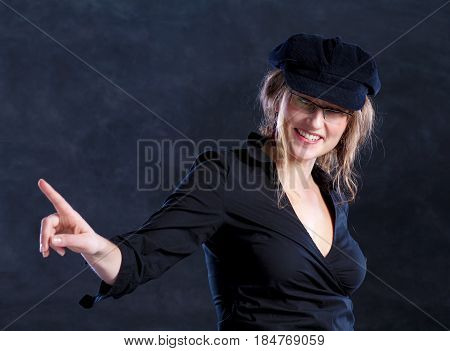 Young Woman In Beret Pointing The Finger