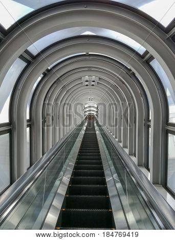 OSAKA JAPAN - NOV 25 2016 : Modern escalator designs on Umeda Sky Building.