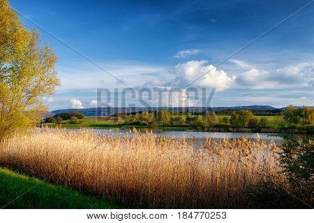 The reservoir lake at Rainau Buch near Ellwangen (Jagst) in Baden-Wurttemberg Germany.