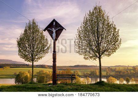 The reservoir lake at Rainau Buch near Ellwangen (Jagst) in Baden-Wurttemberg Germany at evening sunset.