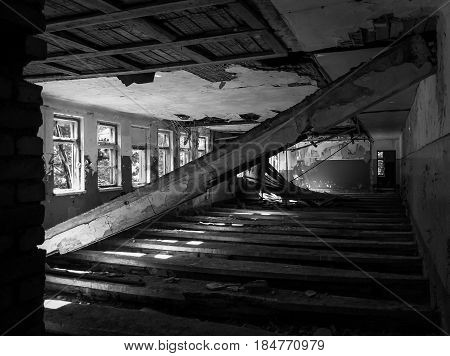 Gloomy corridor in the old house, gloomy light