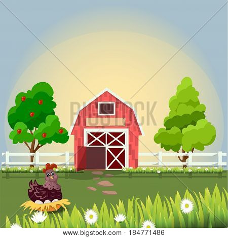 High quality original trendy vector illustration of a hen and eggs Hen or chicken in nest sitting on eggs on farm with fruit trees and chamomile, Farm animals collection.