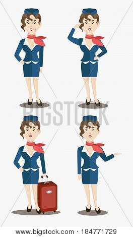 Cute stewardess characters set. Vector illustration EPS 10